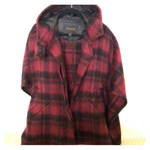 Coach burgundy wool cape size XS/S